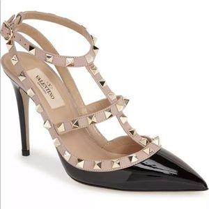 Valentino rockstud heels black patent 41